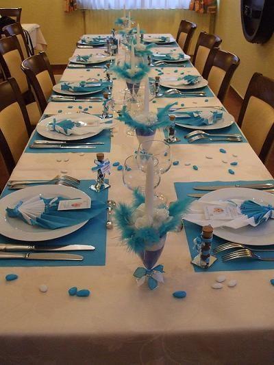 decoration bapteme bleu et blanc
